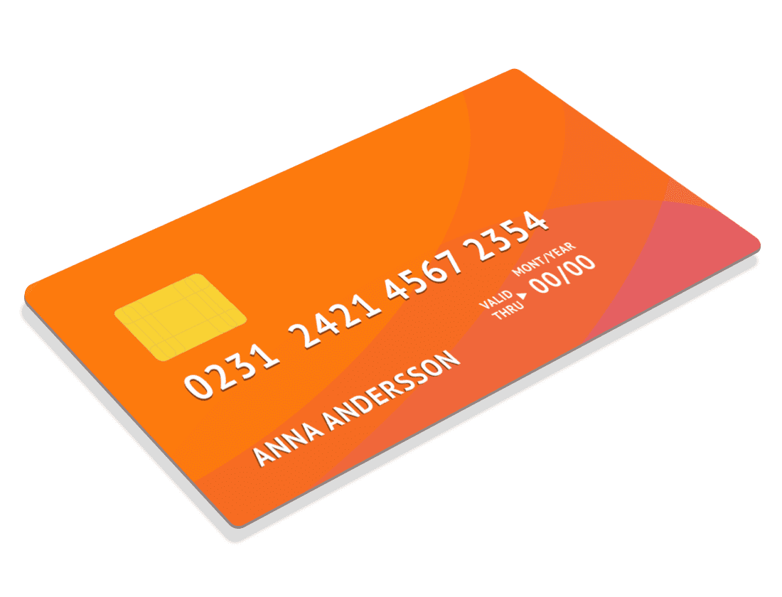 Big illustrated credit card high resolution orange