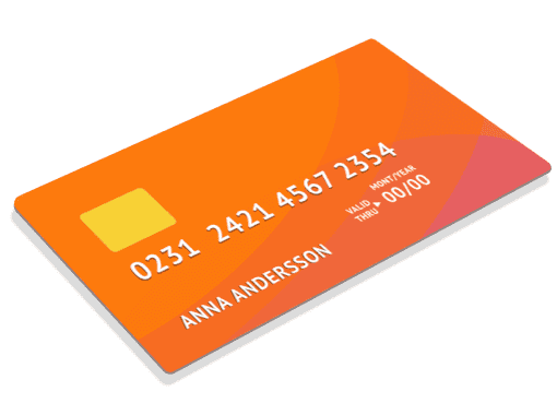 Illustrated credit card high resolution orange