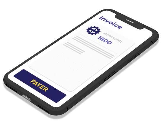 Invoice on mobile phone screen