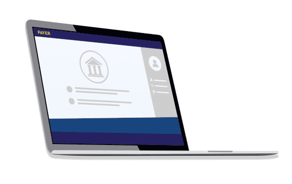 Bank UI screen on laptop with Payer logo