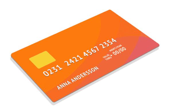 Illustrated credit card high resolution orange