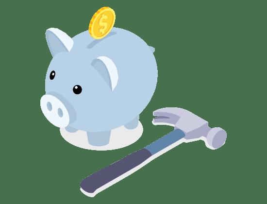 Piggy bank with hammer illustrating payout funcionality