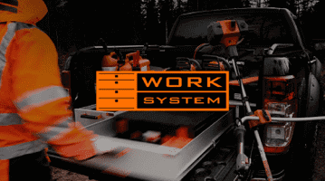 Work system brand image with worker and service car