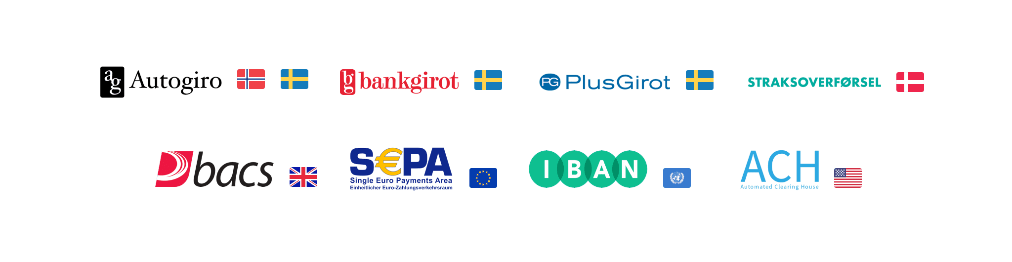 Multiple bank payments schemes in the same image such as Autogiro, Plusgiro, Bankgiro, IBAN, ACH, BACS
