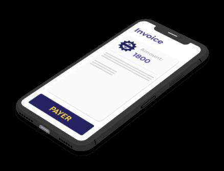 Digital invoice on mobile telephone screen